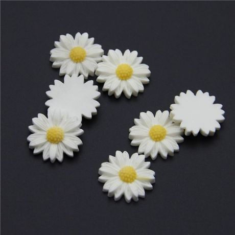 5  X 20MM WHITE DAISY FLOWER FLAT BACK RESIN HEADBANDS BOWS CARD MAKING PLAQUES